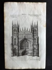 Dugdale & King 1718 Antique Print. West Prospect of the Church of Beverley